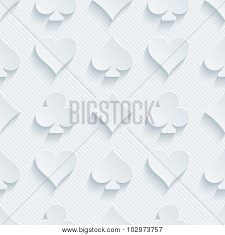 Card suit 3d seamless background. Light perforated paper pattern with cut out effect.