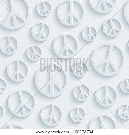 Sign of peace. 3d seamless background. Light perforated paper pattern with cut out effect.