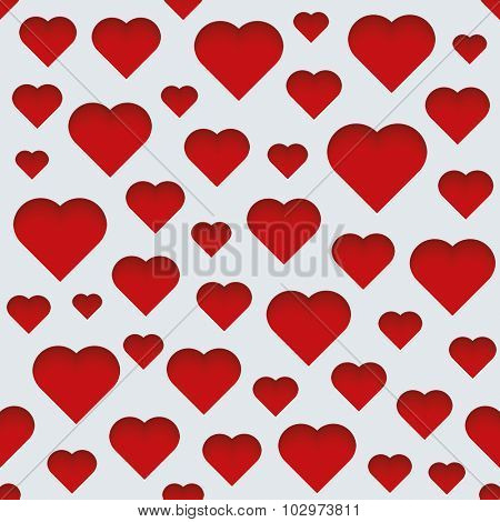 Valentine day 3d seamless background. Light perforated paper pattern with cut out effect.