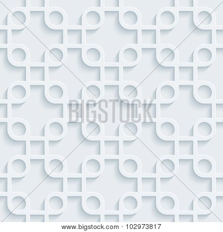 Squares 3d seamless background. Light perforated paper pattern with cut out effect.