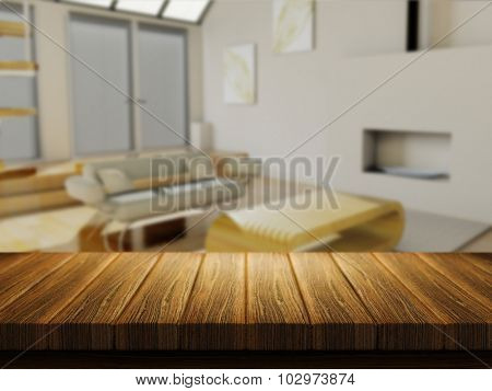 3D render of a wooden table with a defocussed lounge in the background