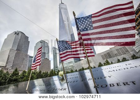 Memorial At World Trade Center Ground Zero.
