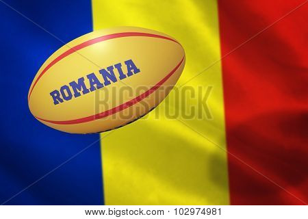 Romania rugby ball against romania over white background