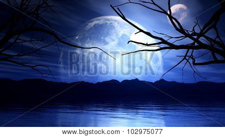 3D render of a haunting background with moon, planet and tree silhouette
