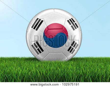 Soccer football with South Korean flag