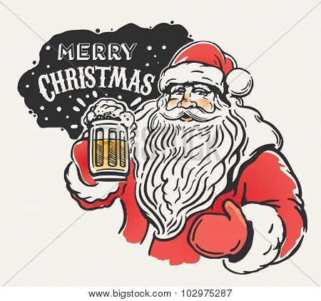 Jolly Santa Claus with a beer mug in hand. Merry Christmas!