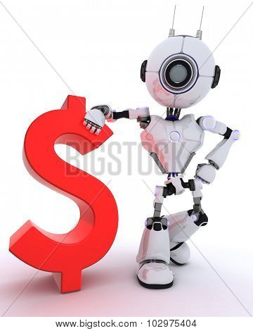 3D Render of a Robot with dollar sign
