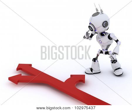 3D Render of a Robot with arrows