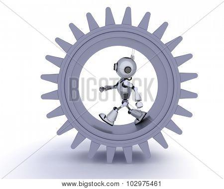 3D Render of a Robot gears concept