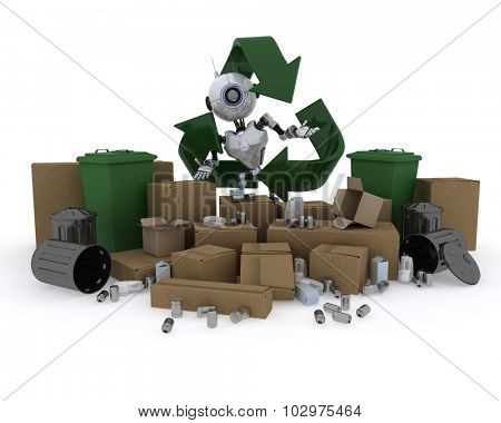 3D render of a Robot with recycling waste