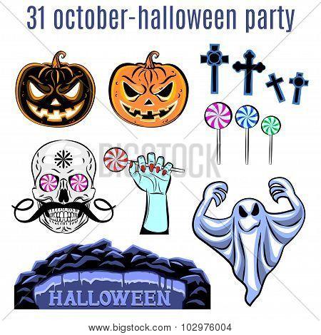 Halloween Set, Collection Of Halloween Icon. Vector.