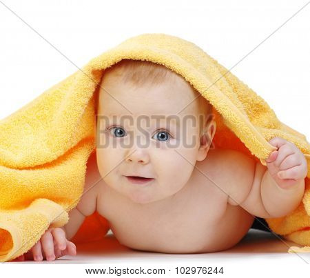 baby in towel on white background