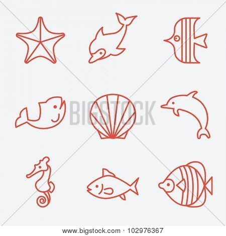 Sea fauna and fish icons, thin line style, flat design