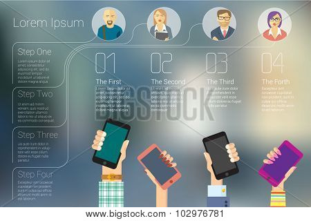 Trendy social media mobile network infographic vector concept.