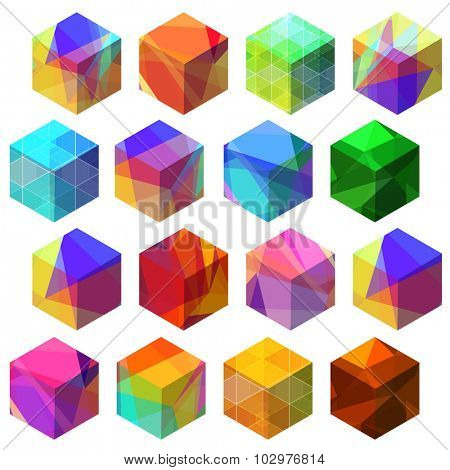 Refracting colorful cube icons.