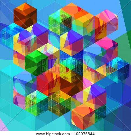 Abstract with transparent colorful cubes and grids