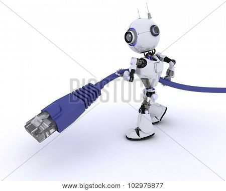 3D Render of a Robot with an RJ45 data cable