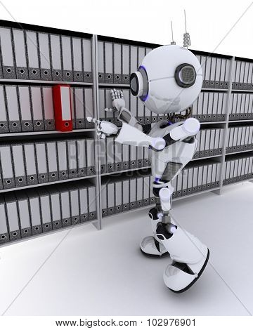3D Render of a Robot filing documents