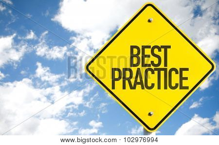 Best Practice sign with sky background