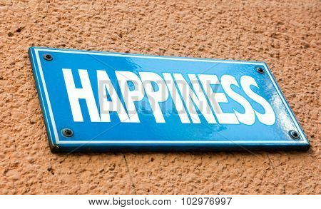 Happiness blue sign