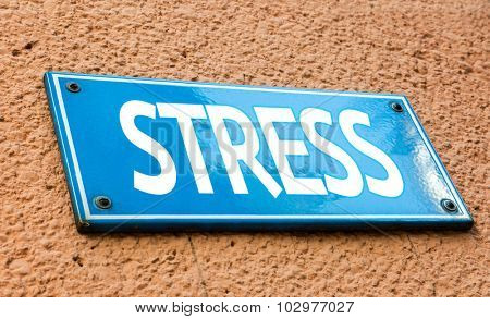 Stress blue sign