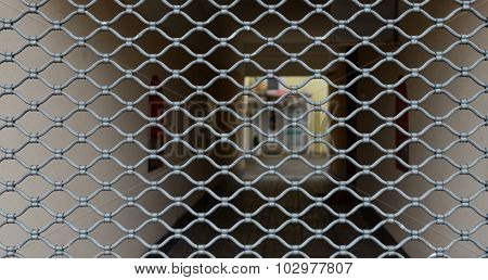 Fence Of Zinced Metal Grid As Background.