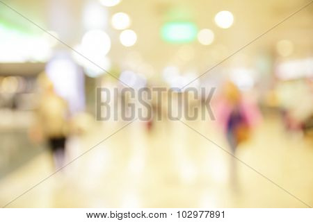 Hall of airport out of focus - defocused blured background