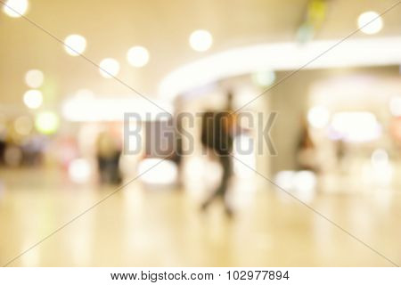 Lights of duty free shop in airport - defocused blured background