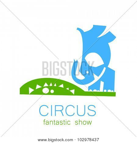 Circus - template logo. Trained elephant acrobat.