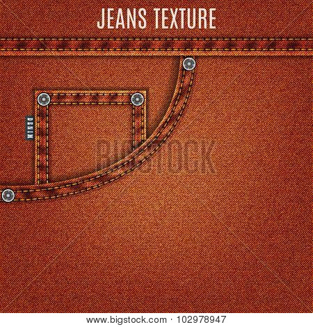 Jeans Brown Texture With Pocket Denim Background. Stock Vector Illustration Eps10