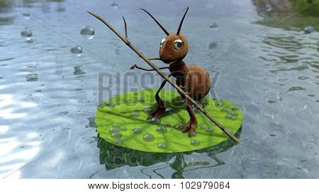 Ant on sheet