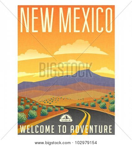 Retro style travel poster or sticker. United States, New Mexico desert landscape.