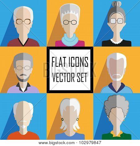 Elderly People Icons Set.