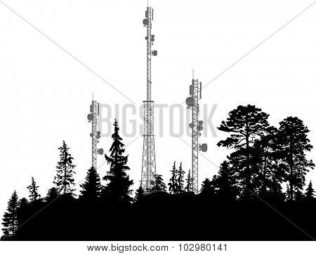 illustration with antenna silhouettes in dark forest
