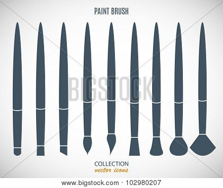 Set Paint Brush Icons In The Style Flat Design Isolated On Gray Background