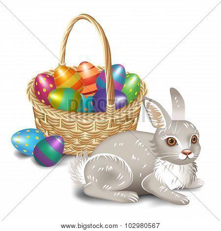 Easter Bunny With Easter Basket.vector Illustration.