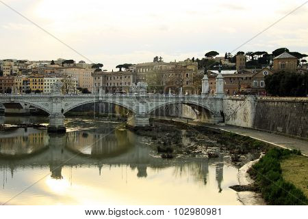 Bridge Across River Tiber, Ponte Umberto I, Rome, Italy