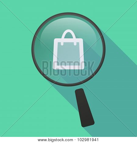 Long Shadow Magnifier Icon With A Shopping Bag