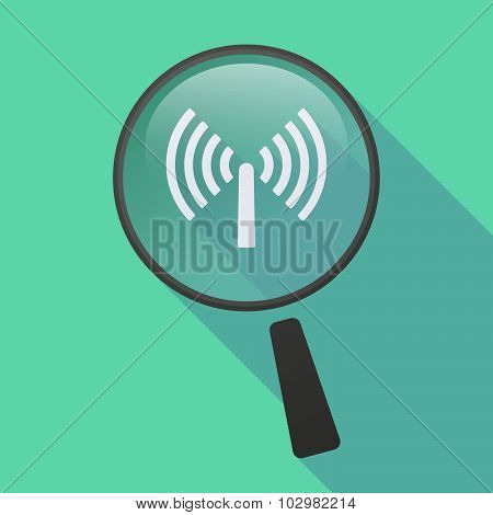 Long Shadow Magnifier Icon With An Antenna