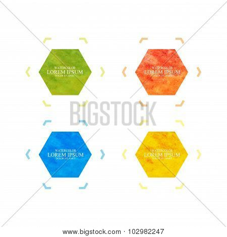 Watercolor hexagonal colorful shape banners. Modern vector for your design and  text