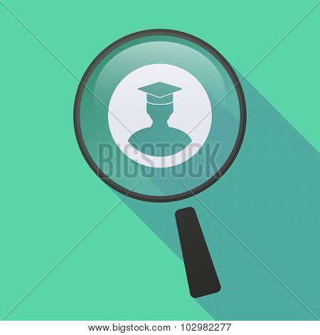 Long Shadow Magnifier Icon With A Student