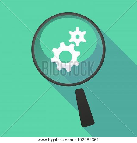 Long Shadow Magnifier Icon With A Ruble Sign