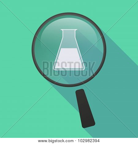 Long Shadow Magnifier Icon With A Flask