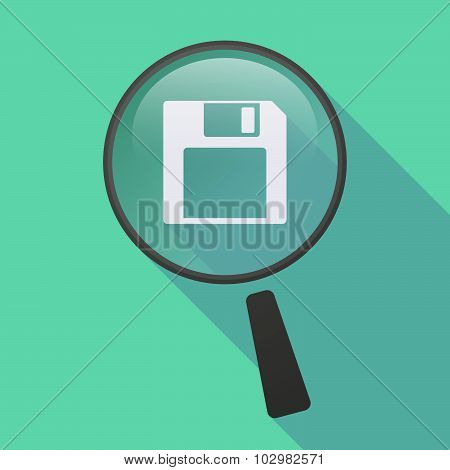 Long Shadow Magnifier Icon With A Floppy Disk