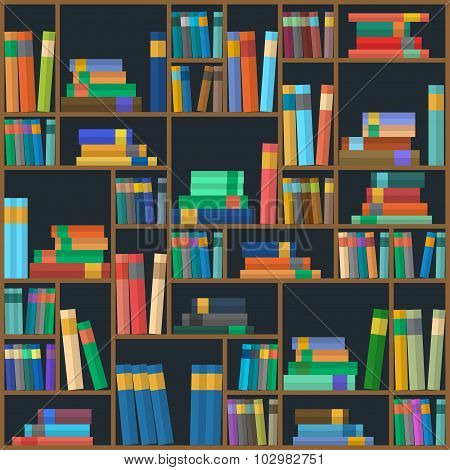 Vector Of Library Book Background. Seamless Pattern.
