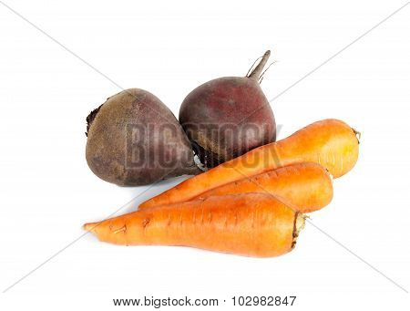 Fresh Vegetables Carrots, Beetroots Isolated On White