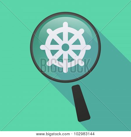 Long Shadow Magnifier Icon With A Dharma Chakra Sign