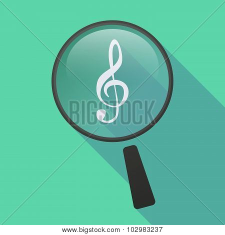 Long Shadow Magnifier Icon With A G Clef