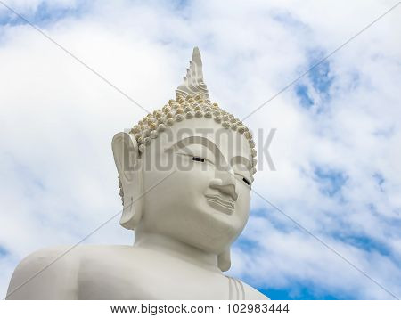Finger White Buddha Statue In Thailand Temple