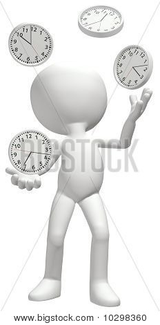 Clock Juggler Juggles Clocks To Manage Time Schedule